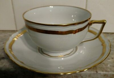 Raynaud MARIE ANTOINETTE Footed Cup and Saucer heavy gold trim Limoges Ceralene