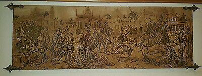 Large Splendid Early 19c Marketplace Mid East Tapestry