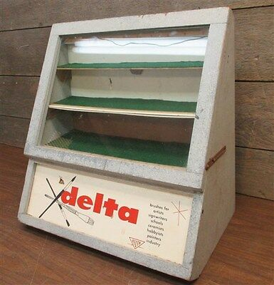 Delta Brushes Store Counter Top Display Cabinet Case Sign Vintage Advertising