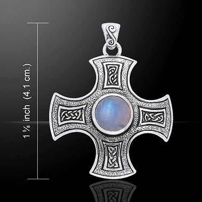 Cross Harmony Celtic Knotwork Gem Sterling Silver Pendant by Peter Stone Jewelry