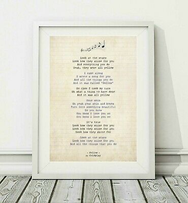318 Coldplay - Yellow - Song Lyric Art Poster Print - Sizes A4 A3