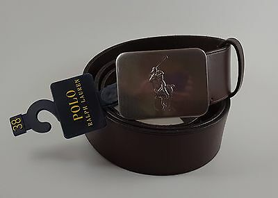 Polo Ralph Lauren Men's Brown Leather Belt ~ Silver Pony Logo Buckle ~ Size 38