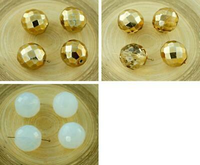 4pcs Extra Large Round Czech Glass Faceted Fire Polished Beads 16mm