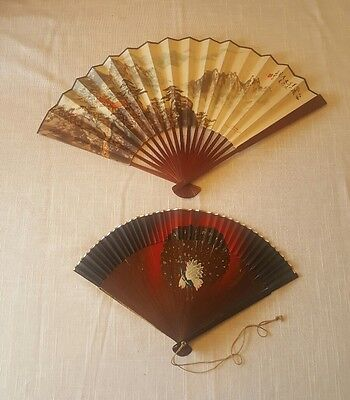 Two Antique Chinese Painted Hand Fans with Wood Handle and Paper Fans