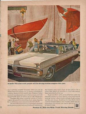 Vintage Magazine Ad - 1967 - Pontiac Executive Safari Station Wagon