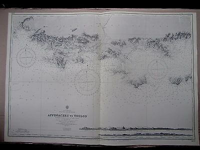 """1956 APPROACHES to TOULON FRANCE Nautical Admiralty Map Chart 28"""" x 41"""" B03"""