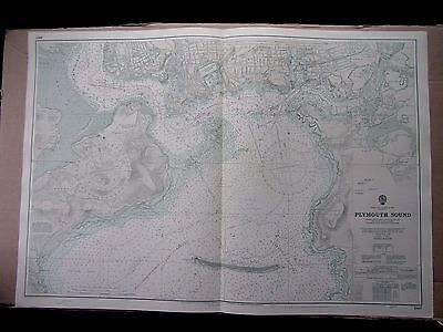 """1971 PLYMOUTH SOUND Admiralty Map Sea Chart 28"""" x 41"""" A62"""