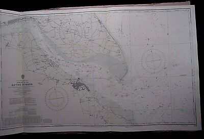 """1969 ENTRANCE to the RIVER HUMBER - Admiralty Nautical Sea Map 28"""" x 48"""" A26"""