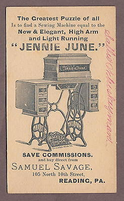 Jennie June Sewing Machine Victorian Puzzle Trade Card Reading Pennsylvania