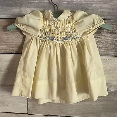 Yellow vintage Polly Flinders dress 12-18 months hand smocked Baby Carriage