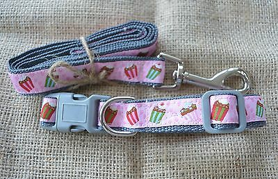 Dog Collar and Lead Sets by Floral Pooch Cupcakes Birds Paris JACQUARD RIBBON
