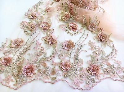 By The Yard -  3D Gorgous Embroidery Pearls Floral Bridal Tulle Lace