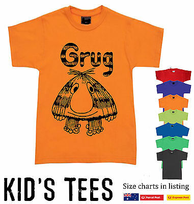 Grug T-shirt Funny KID'S CHILDREN book fun retro 80's cool groovy tops SIZES