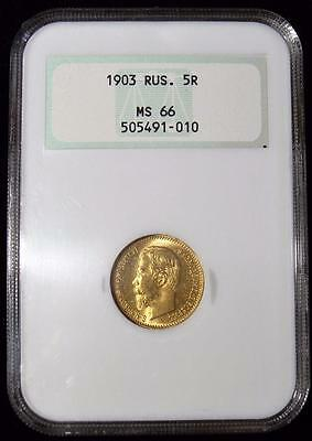 Russia: Superb gold 5 Roubles 1903-AP MS66 NGC, GEM of a Coin!!!