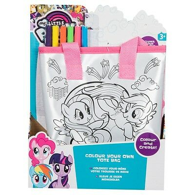 My Little Pony Colour Your Own Tote Bag Children's Craft Set With Bag 6 Pens