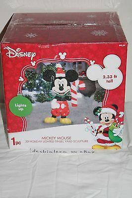 Disney Mickey Mouse 3D Holiday Lighted Tinsel Yard Sculpture New NIB