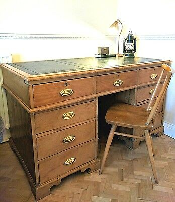 Antique Green Leather Top Victorian Solid Writing Partner Captains Desk