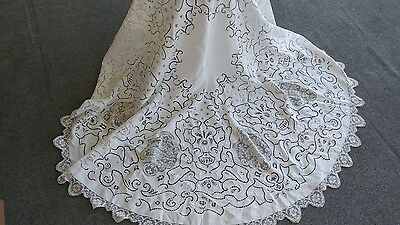 "Antique Italian lace linen cut out  embroidery  tablecloth  64"" hand made"