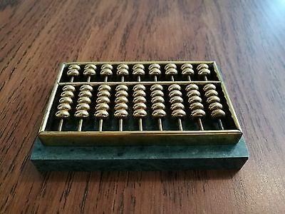 Vintage Mini Brass Abacus Green Solid Marble Base