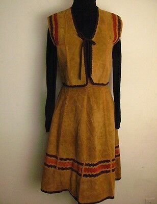 Vtg 70's Native American Indian Inspired Suede Skirt Vest Set Dress XS Costume