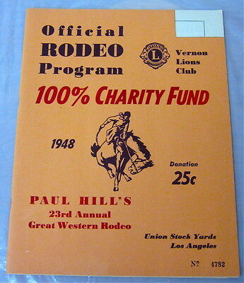1948 Paul Hill's 23rd Great Western Rodeo Program Union Stock Yards Los Angeles
