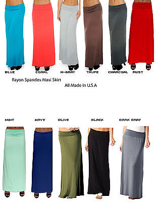US New Women Rgular & Plus Size Supersoft Fold-Over Maxi Skirt Dress