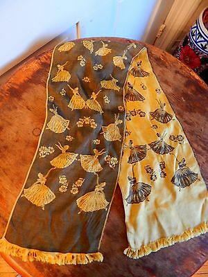 Antique Vintage Silk Women's Scarf Ballerina Dancer Design Fringed Black & Gold