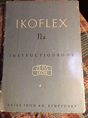 Zeiss Ikon Instruction Book Ikoflex 2a Twin Lens Reflex Camera Manual