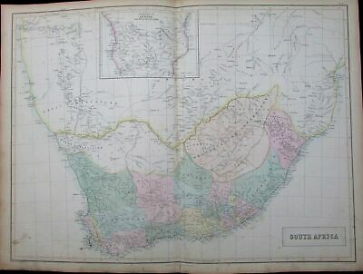 South Africa Orange Free State Cape Town c. 1855 Black large antique color map
