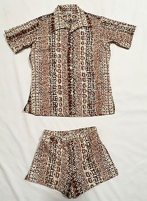 Vtg Christian Dior Cabana Set Sz L Swim Shorts Shirt Hawaii Tribal Tiki