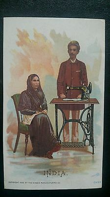 Antique Victorian Trade Card: The Singer Manufacturing Co. - India