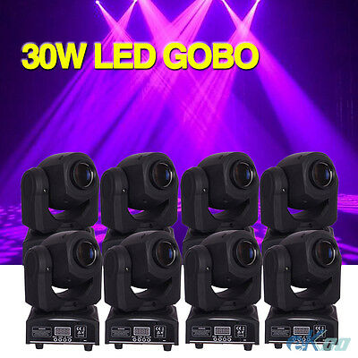 8PCS 30W LED GOBO Moving Head Stage Light rgbw 4in1 DMX DJ lighting