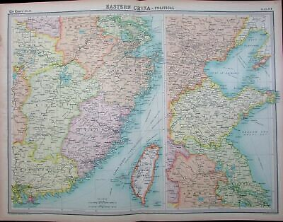 Taiwan Formosa Eastern China Yellow Sea Provinces c.1915 large antique color map