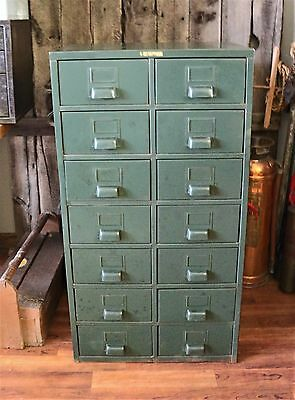 Tall Vintage Industrial Hobart Metal Parts Cabinet 14 Drawers Nice Pulls
