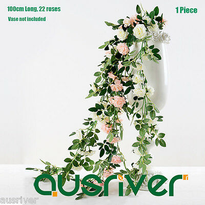 SALE Life Like 100cm Artificial Rose Vine Garland Silk Flowers Wedding Decor