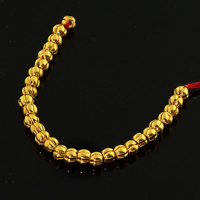 18k Solid Yellow Gold 3MM Pumpkin Spacer Findings Beads 2.7 INCH Strand (29)