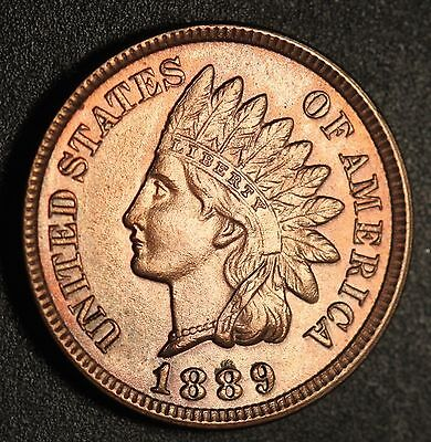 1889 INDIAN HEAD CENT - With LIBERTY & Near 4 DIAMONDS - AU UNC