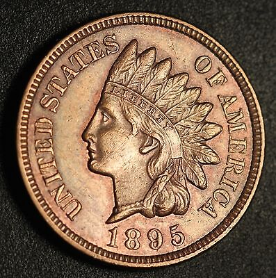 1895 INDIAN HEAD CENT -With LIBERTY & 4 DIAMONDS - AU UNC