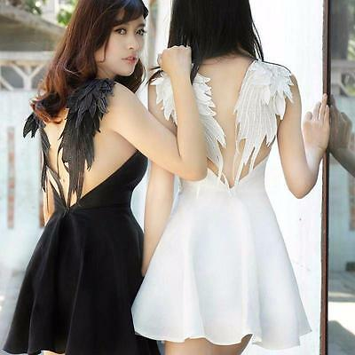 Lolita Gothic Swan Dark Fairy Wings Embroidery Dress Sexy BACKLESS Dress HOT