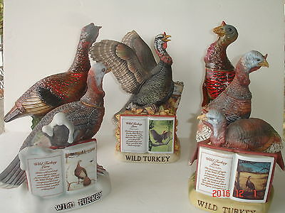 Five Wild Turkey Empty Decanters Plus Two Bottle Stoppers / Pourers and Two Pins