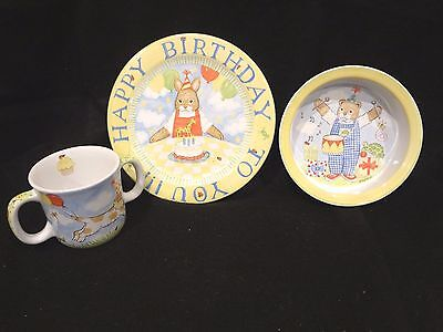 """KELLY B RIGHTSELL CHILDS 3 PIECE DINNER SET~8""""Plate 6""""Bowl & 2 Handle Cup~CUTE"""