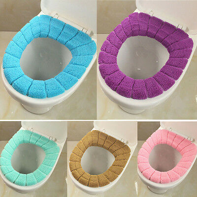 USA NEW Washable Soft Closestool Lid Top Cover Bathroom Warmer Toilet Seat Cloth