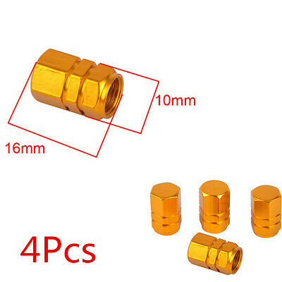 4X Gold Aluminum Tire Wheel Rims Stem Air Valve Caps Tyre Cover Car Truck Bike