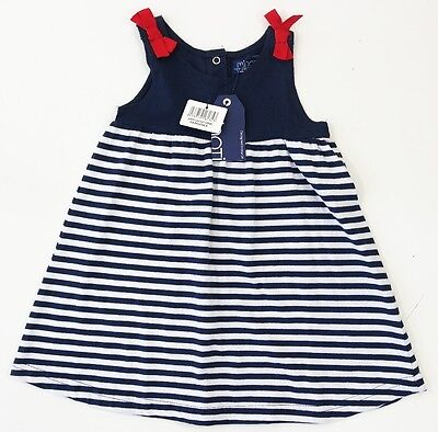 Minoti Baby Girls Navy Blue Striped Sleeveless Tunic Dress Cotton 18-24 Months
