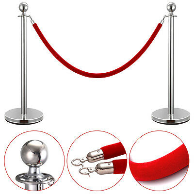 2Pcs Stanchion Post/Set/Rope Stainless Steel Retractable Queue Barrier Silver