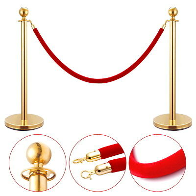2Pcs Stanchion Set Velvet Rope Stainless Steel Retractable Queue Barrier Gold