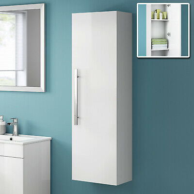 Tall White Wall Mounted Bathroom Furniture Cabinet Storage Unit 1200 mm