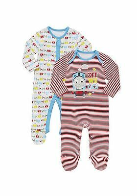 Thomas & Friends 6-9 months 2 Pack of Sleepsuits Baby Boys Cotton