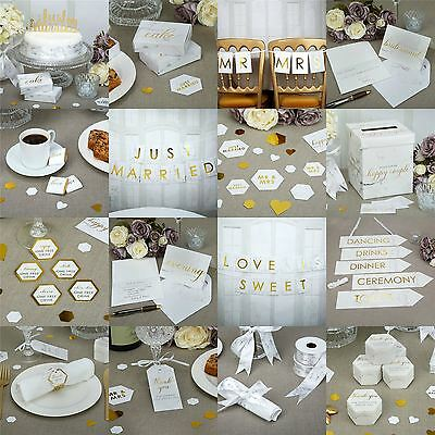 Scripted White Marble Wedding Party Supplies Favours Tableware Decorations