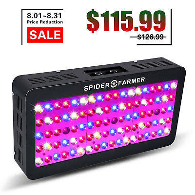 Spider Farmer 450W LED Grow Light Dimmable Full Spectrum Indoor Plants Veg Bloom